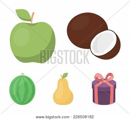 Coconut, Apple, Pear, Watermelon.fruits Set Collection Icons In Cartoon Style Vector Symbol Stock Il