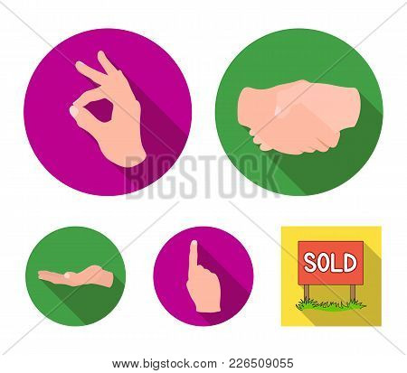 Handshake, Okay, Index Up, Palm. Hand Gesturesv Set Collection Icons In Flat Style Vector Symbol Sto