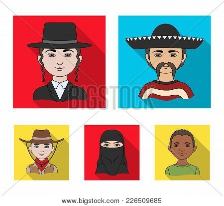 A Mexican, A Jew, A Woman From The Middle East, An American. The Human Race Set Collection Icons In