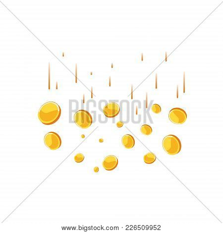Coins Falling Vector Illustration. Abstract Coins Dropping Golden Rain Concept Modern Flat Cartoon D