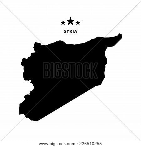 Syria Map. Text With Stars. Vector Illustration.