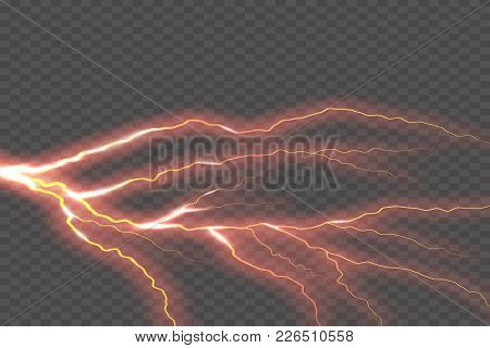 Lightning Electric Thunder Storm Light Flash. Vector Realistic Lightning Rain Weather Thunderbolt On