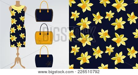 Woman Clothes Modern Stylish Boutique, Shop. Vector Illustration. Seamless Daffodil Floral Pattern W