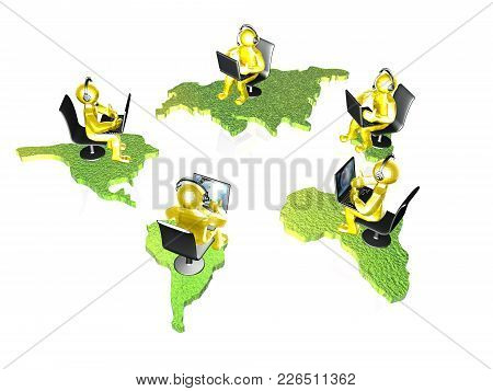 Yellow Mans With Laptops And Continents On White Background, 3d Illustration.