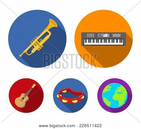 Electro Organ, Trumpet, Tambourine, String Guitar. Musical Instruments Set Collection Icons In Flat