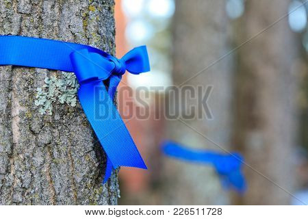 Blue ribbons support fallen police officers in Westerville, Ohio.