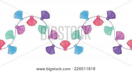 Vector Wavy Colorful Decorative Tassels Set Horizontal Seamless Repeat Border Pattern. Great For Han