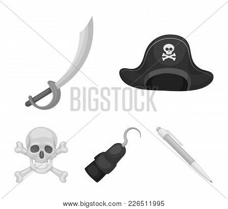 Pirate, Bandit, Cap, Hook .pirates Set Collection Icons In Monochrome Style Vector Symbol Stock Illu