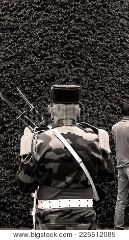 Rear View Of Unrecognizable Solider At Ceremony To Mark Western Allies World War Two Victory Armisti