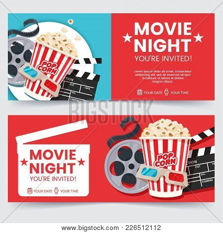Cinema Tickets Design Concept. Movie Night Invitation. Cinema Poster Template. Composition With Popc