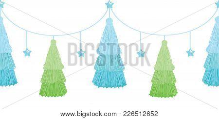Vector Christmas Tree Blue Green Layered Decorative Tassels Set Horizontal Seamless Repeat Border Pa