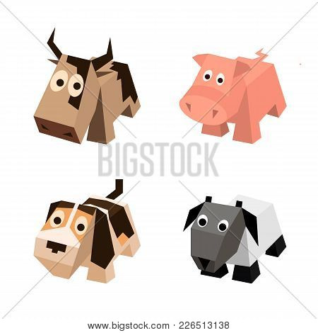 Vector Set Of Different Low Poly Isometric 3d Animals. Isolated Cute Animals. Elements Of Geometric
