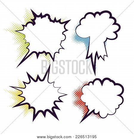 Comics Book Dialog Empty Clouds, Space Cartoon Box Pop-art. Set Of Template Memphis Style Text Speec