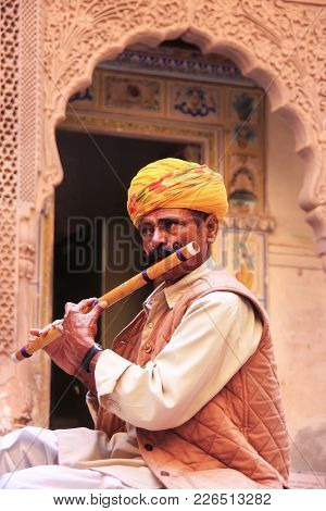 Jodhpur, India - February 11: An Unidentified Man Plays Flute In Mehrangarh Fort On February 11, 201