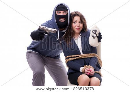 Gunman forcing a woman