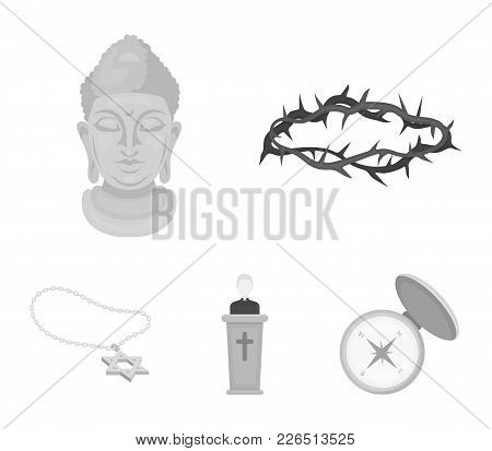 A Crown Of Thorns, A Star Of David, A Priest, A Buddha's Head. Religion Set Collection Icons In Mono