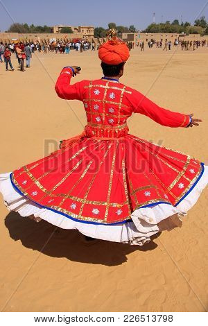 Jaisalmer, India - February 16: Unidentified Man Dances During Desert Festival On February 16, 2011