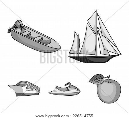 Ancient Sailboat, Motor Boat, Scooter, Marine Liner.ships And Water Transport Set Collection Icons I