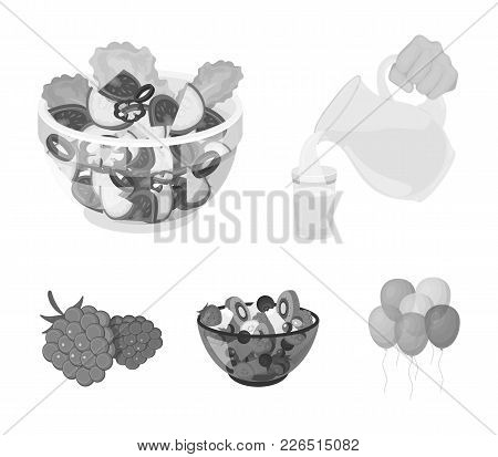Fruit, Vegetable Salad And Other Types Of Food. Food Set Collection Icons In Monochrome Style Vector