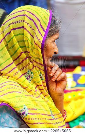 Agra, India - November 10: Unidentified Woman (portrait) Stands At Kinari Bazaar On November 10, 201