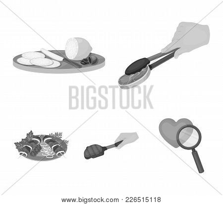 Tongs With Steak, Fried Meat On A Scoop, Slicing Lemon And Olives, Shish Kebab On A Plate With Veget