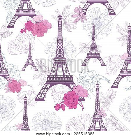 Vector Purple Pink Eifel Tower Paris And Roses Flowers Seamless Repeat Pattern. Perfect For Travel T