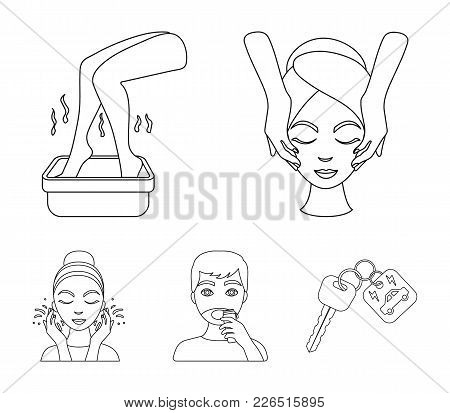 Face Massage, Foot Bath, Shaving, Face Washing. Skin Care Set Collection Icons In Outline Style Vect