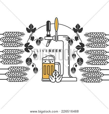 Beer Tap, Hops, Wheat, Beer Mug. Vector Sign In A Line Style For The Menu, Restaurant, Brewery. Set