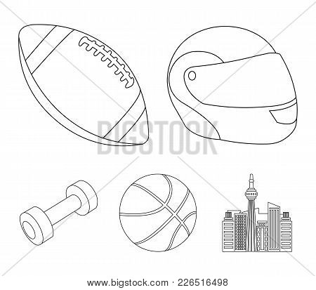 Red Protective Helmet, Rugby Ball, Basketball Ball, Dumbbells. Sport Set Collection Icons In Outline