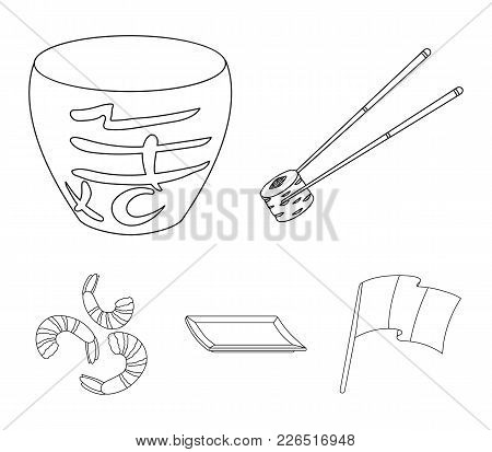 Sticks, Shrimp, Substrate, Bowl.sushi Set Collection Icons In Monochrome Style Vector Symbol Stock I