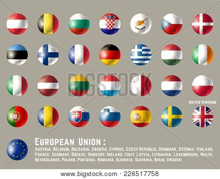 European Union Flags. Glossy Round Button Flag Set. Vector Illustration.