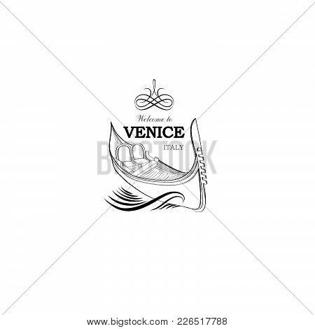 Venice City Symbo. Tourist Venetian Landmark Gondola. Travel Italy Icon.
