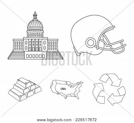 Football Player's Helmet, Capitol, Territory Map, Gold And Foreign Exchange. Usa Acountry Set Collec