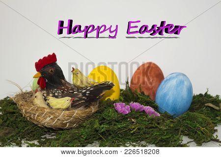 Easter Still Life. Easter Eggs Easter Service. Easter Decor. Decorated Easter Eggs с курочкой Wooden