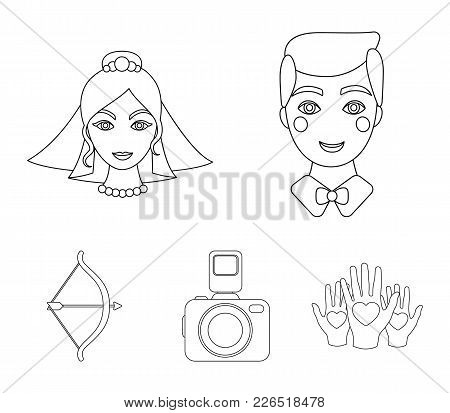 Groom, Bride, Photographing, Arrow Of The Cupid. Wedding Set Collection Icons In Outline Style Vecto