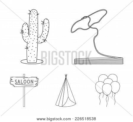 Lasso, Cactus, Wigwam, Saloon Index. Wild West Set Collection Icons In Outline Style Vector Symbol S