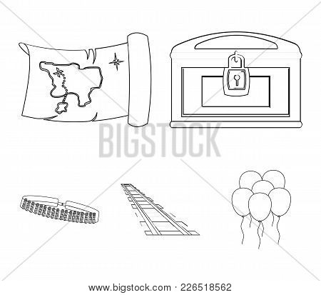 Treasure Map, Chest, Rails, Patrol.wild West Set Collection Icons In Outline Style Vector Symbol Sto