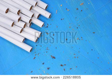 Cigarette on a blue background