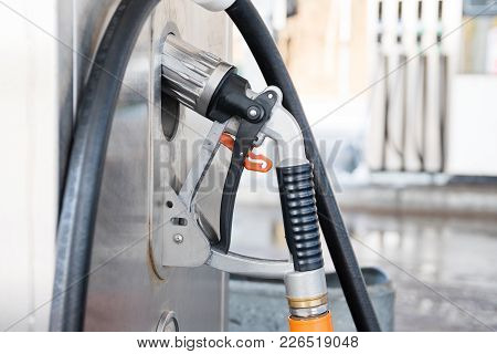 Liquid Petrol Gas Or Lpg Station Pump With Nozzle To Refuel A Car