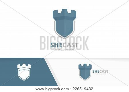 Vector Castle And Shield Logo Combination. Tower And Security Symbol Or Icon. Unique Fortress And Gu