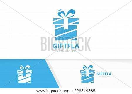Vector Gift And Giftbox Logo Combination. Present And Box Symbol Or Icon. Unique Surprise Logotype D