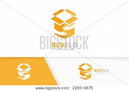 Vector Box And Hands Logo Combination. Package And Embrace Symbol Or Icon. Unique Delivery And Team,