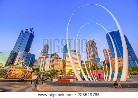 Perth, Australia - Jan 6, 2018: Famous Landmark In Perth Downtown: Esplanade, Skyscrapers Of Central