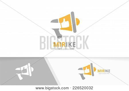 Vector Megaphone And Like Logo Combination. Bullhorn And Best Symbol Or Icon. Unique Announcement An