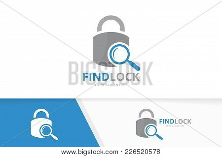Vector Lock And Loupe Logo Combination. Safe And Magnifying Symbol Or Icon. Unique Padlock And Searc