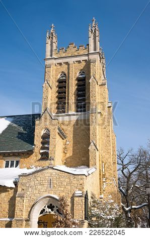 Tower And Corner Entrance Of Landmark Neo Gothic Church In Hill District Of Saint Paul Ramsey County