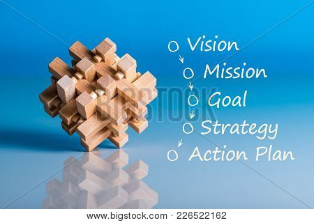 Illustration Of Business Concept Vision - Mission - Strategy - Action Plan On Blue Background With W