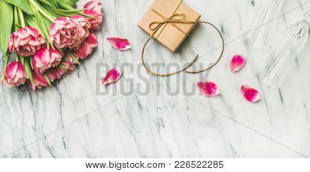 Valentines Day Holiday Background. Flat-lay Of Pink Tulips Bouquet, Champaign Glasses And Gift Box W