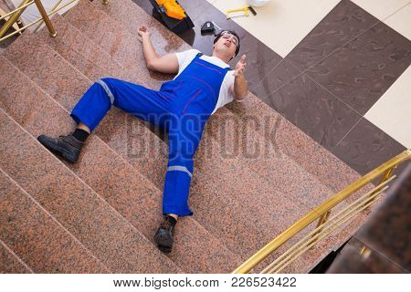 Dead contractor worker felling off the stairs