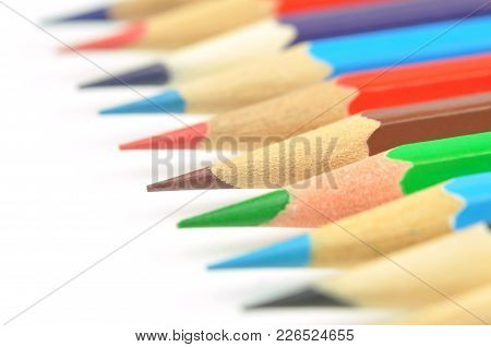 Set Of Color Pencils Isolated On A White. Macro Shot. Selective Focus.